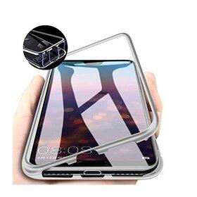 Husa cu Bumper Magnetic si Spate din Sticla Securizata pentru Huawei P30 Pro Silver