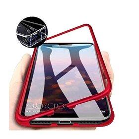 Husa cu Bumper Magnetic si Spate din Sticla Securizata pentru Huawei P40 Lite Red