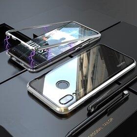 Husa cu Bumper Magnetic si Spate din Sticla Securizata pentru Huawei Y7 Prime (2019)/ Huawei Y7 (2019) Silver