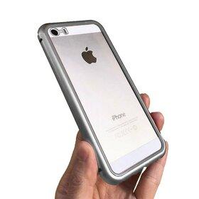Husa cu Bumper Magnetic si Spate din Sticla Securizata pentru iPhone 5/5s/SE Silver