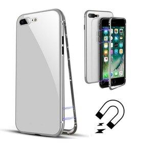 Husa cu Bumper Magnetic si Spate din Sticla Securizata pentru iPhone 6/6s Silver