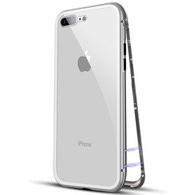 Husa cu Bumper Magnetic si Spate din Sticla Securizata pentru iPhone 7+/ iPhone 8+ Silver