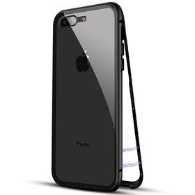 Husa cu Bumper Magnetic si Spate din Sticla Securizata pentru iPhone 7+/ iPhone 8+ Black