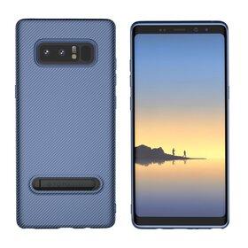 Husa cu Stand Carbon Fiber pentru Galaxy Note 8 Blue