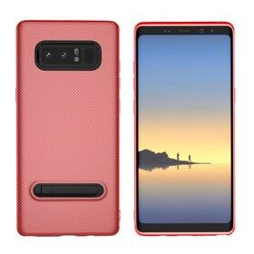 Husa cu Stand Carbon Fiber pentru Galaxy Note 8 Red