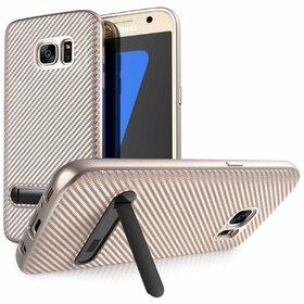 Husa cu Stand Carbon Fiber pentru Galaxy S7 Rose Gold