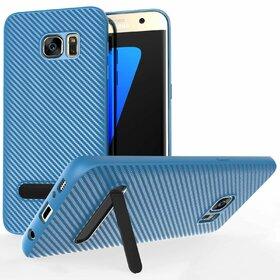 Husa cu Stand Carbon Fiber pentru Galaxy S7 Edge Blue