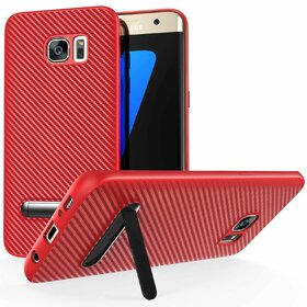Husa cu Stand Carbon Fiber pentru Galaxy S7 Edge Red