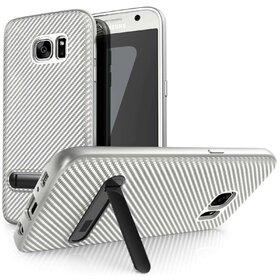 Husa cu Stand Carbon Fiber pentru Galaxy S7 Edge Silver