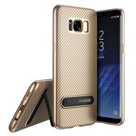 Husa cu Stand Carbon Fiber pentru Galaxy S8 Gold