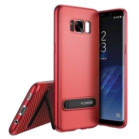 Husa cu Stand Carbon Fiber pentru Galaxy S8 Plus Red