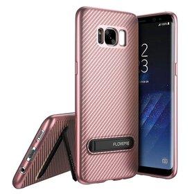 Husa cu Stand Carbon Fiber pentru Galaxy S8 Plus Rose Gold