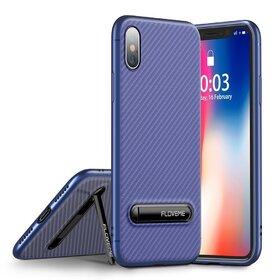 Husa cu Stand Carbon Fiber pentru iPhone X/ iPhone XS