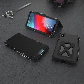 Husa de protectie din aluminium cu flip protector pentru iPhone X/XS Black