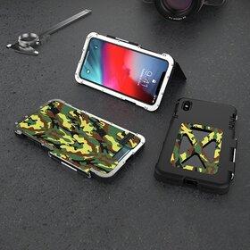 Husa de protectie din aluminium cu flip protector pentru iPhone X/XS Camouflage Green