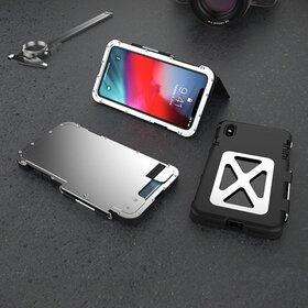 Husa de protectie din aluminium cu flip protector pentru iPhone X/XS Silver