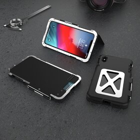 Husa de protectie din aluminium cu flip protector pentru iPhone X/XS Black&Silver