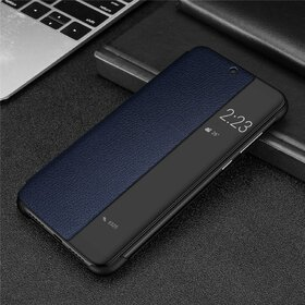 Husa din piele ecologica cu flip semi-transparent pentru Huawei Mate 20 Pro Blue