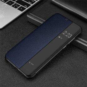 Husa din piele ecologica cu flip semi-transparent pentru Huawei P30 Pro Blue