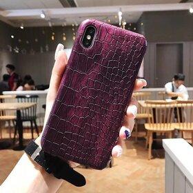 Husa din piele ecologica cu textura piele de crocodil pentru iPhone X/ XS Purple