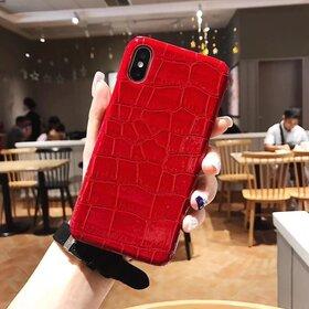 Husa din piele ecologica cu textura piele de crocodil pentru iPhone X/ XS Red