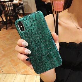 Husa din piele ecologica cu textura piele de crocodil pentru iPhone X/ XS Green