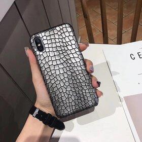 Husa din piele ecologica cu textura piele de crocodil pentru iPhone X/ XS Silver