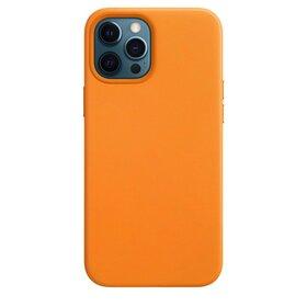 Husa din Piele Ecologica Magsafe pentru iPhone 12 Pro/ iPhone 12 Orange