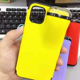 Husa din silicon cu buzunar pentru casti pentru iPhone X/XS Yellow