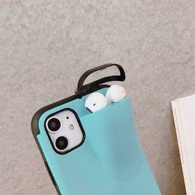 Husa din silicon cu buzunar pentru casti pentru iPhone X/XS Baby Blue