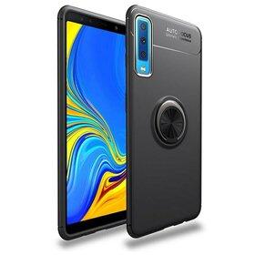 Husa din silicon cu inel magnetic rotativ pentru Galaxy A7 (2018) Black