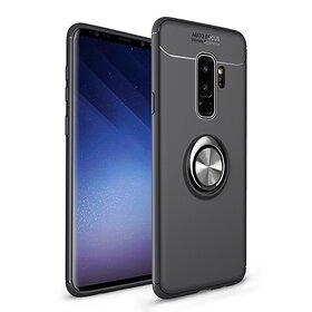 Husa din silicon cu inel magnetic rotativ pentru Galaxy A9 (2018) Black