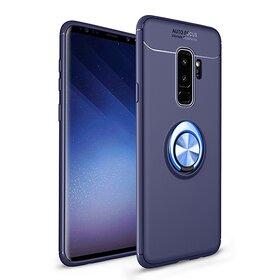 Husa din silicon cu inel magnetic rotativ pentru Galaxy A9 (2018) Blue