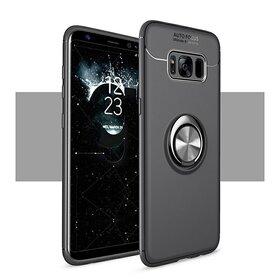 Husa din silicon cu inel magnetic rotativ pentru Galaxy S8 Plus Black