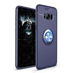 Husa din silicon cu inel magnetic rotativ pentru Galaxy S8 Plus Blue