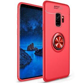 Husa din silicon cu inel magnetic rotativ pentru Galaxy S9 Red