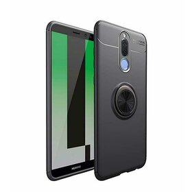 Husa din silicon cu inel magnetic rotativ pentru Huawei Mate 10 Lite Black