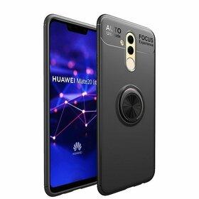 Husa din silicon cu inel magnetic rotativ pentru Huawei Mate 20 Lite Black