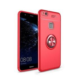 Husa din silicon cu inel magnetic rotativ pentru Huawei P10 Lite Red