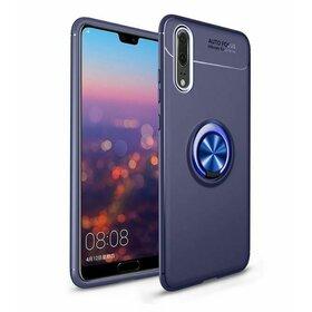 Husa din silicon cu inel magnetic rotativ pentru Huawei P20 Blue