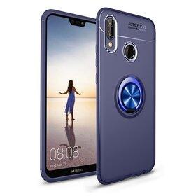 Husa din silicon cu inel magnetic rotativ pentru Huawei P20 Lite (2018) Blue