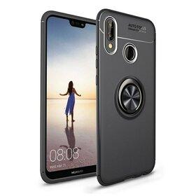 Husa din silicon cu inel magnetic rotativ pentru Huawei P20 Lite (2018) Black