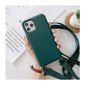 Husa din silicon cu snur textil pentru Huawei Y5P Aqua Green