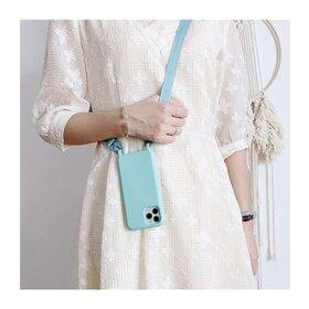 Husa din silicon cu snur textil pentru Huawei Y6P Baby Blue