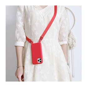 Husa din silicon cu snur textil pentru Huawei Y6P Red