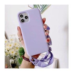 Husa din silicon cu snur textil pentru Huawei Y6P Lavender