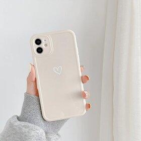 Husa din silicon lucios cu inima pentru iPhone 11 Pro Gold