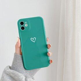 Husa din silicon lucios cu inima pentru iPhone 11 Pro Aqua Green