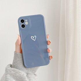 Husa din silicon lucios cu inima pentru iPhone 11 Pro Navy