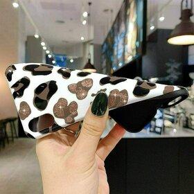 Husa din silicon moale cu print leopard pentru iPhone X/XS White